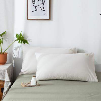 2020新款双拼染色水洗棉-单品(枕套) 48x74cm/只 本白浅绿