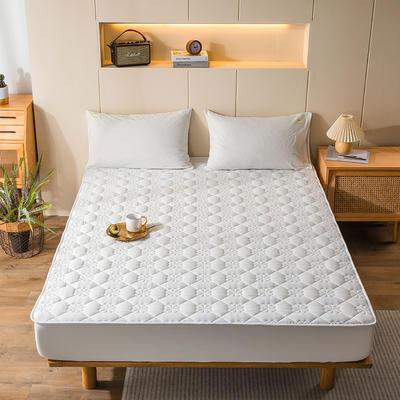 2020新款全棉色织水洗-夹棉床笠 150*200+30cm 白白白