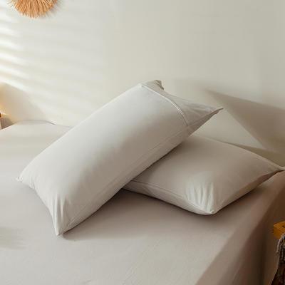 2020新款全棉A类针织棉系列-单枕套 48x74cm-1对装 白银灰