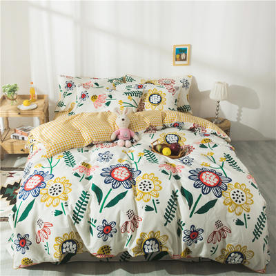 2020新款13372全棉印花四件套 1.2m床单款三件套 向日葵的梦