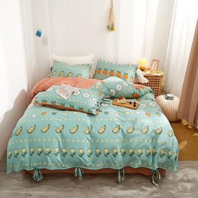 2020新款针织棉印花四件套 1.5m床单款四件套 可爱多-春绿