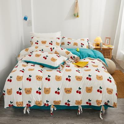 2020新款针织棉印花四件套 1.5m床单款四件套 可爱熊-白
