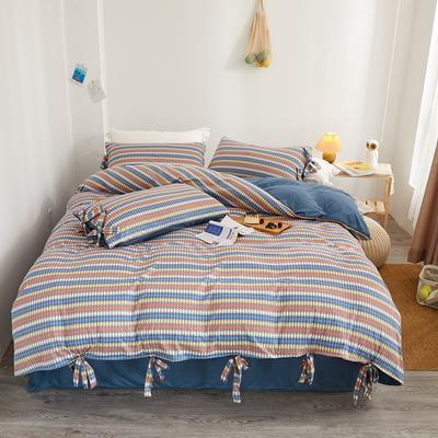 2020新款针织棉印花四件套 1.5m床单款四件套 欧诺-蓝咖