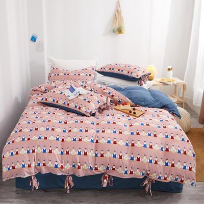 2020新款针织棉印花四件套 1.5m床单款四件套 奇遇-粉