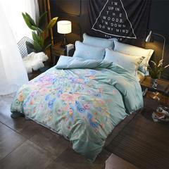 匹马棉13372全棉四件套定位大版花被套床品套件 翎羽 1.5m(5英尺)床 翎羽