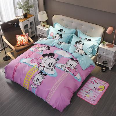 正版授权经典泰迪巴布豆卡通四件套全棉四件套 1.5m(5英尺)床 爱在云端