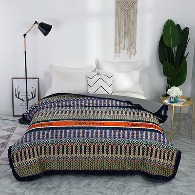 2018秋冬保暖多功能床盖法莱绒盖毯床垫子毯子 200cmx230cm 心心相印