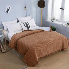 2018秋冬保暖多功能床盖法莱绒盖毯床垫子毯子 200cmx230cm 驼色