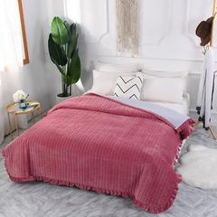 2018秋冬保暖多功能床盖法莱绒盖毯床垫子毯子 200cmx230cm 西瓜粉