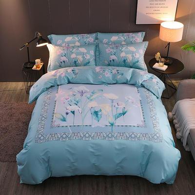 【2019新品】全棉四件套新中式大版花纯棉四件套双人床套件 1.5m(5英尺)床 爱莲娜-绿
