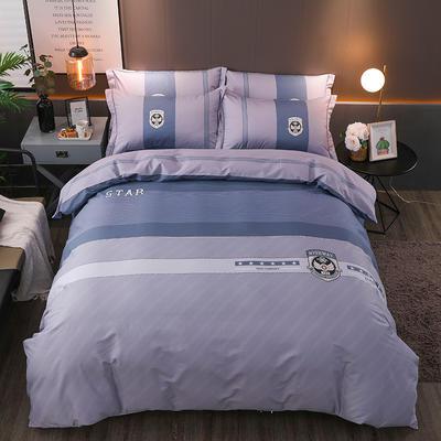 【2019新品】全棉四件套新中式大版花纯棉四件套双人床套件 1.8m(6英尺)床 贝格尔
