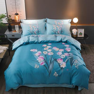 【2019新品】全棉四件套新中式大版花纯棉四件套双人床套件 1.8m(6英尺)床 岁月静好