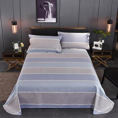老粗布三件套天竺棉夏凉席三件套(亮色系)第二期 2.0m(6.6英尺)床 W4蓝