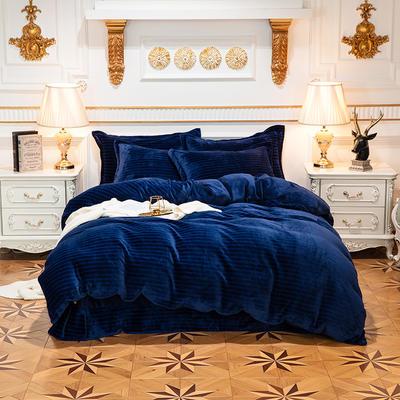 2019新品色织牛奶绒四件套 1.8m(6英尺)床 漫时光-深蓝