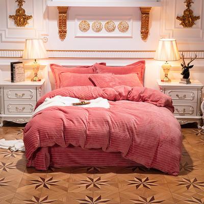 2019新品色织牛奶绒四件套 1.8m(6英尺)床 漫时光-西瓜红