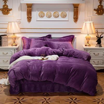 2019新品色织牛奶绒四件套 1.8m(6英尺)床 漫时光-紫色