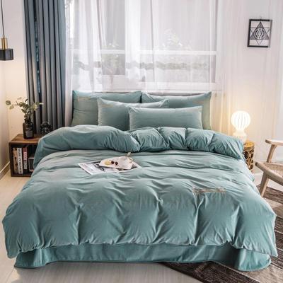 2019新品3D荷兰绒四件套 2.0m(6.6英尺)床 E8荷兰绒-松石绿