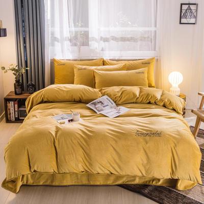 3D荷兰绒四件套 荷兰绒-芥末黄 1.8m(6英尺)床 荷兰绒-芥末黄