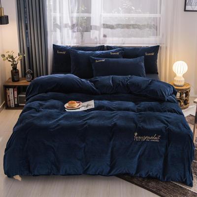 3D荷兰绒四件套 荷兰绒-靓蓝 1.8m(6英尺)床 荷兰绒-靓蓝