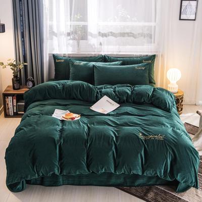 3D荷兰绒四件套 荷兰绒-墨绿 1.8m(6英尺)床 荷兰绒-墨绿