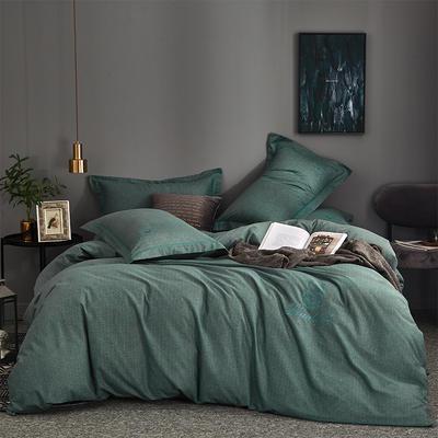 全棉肌理纹纯色绣花磨毛 格里芬-绿 1.8m(6英尺)床 格里芬-绿