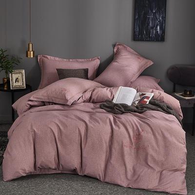 全棉肌理纹纯色绣花磨毛 格里芬-紫 1.8m(6英尺)床 格里芬-紫