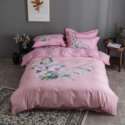 全棉匹马棉四件套 花语悠然 1.8m(6英尺)床 花语悠然