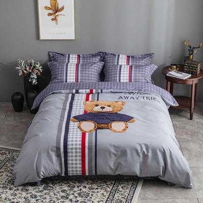 全棉匹马棉四件套 熊宝贝 1.8m(6英尺)床 熊宝贝
