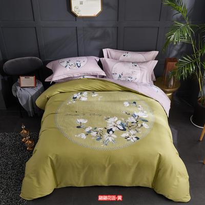 60长绒棉印花款 花型综合 1.5m-1.8m 床 翩翩花语-黄