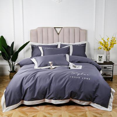 60长绒棉拼色款 1.5m(5英尺)床 灰蓝