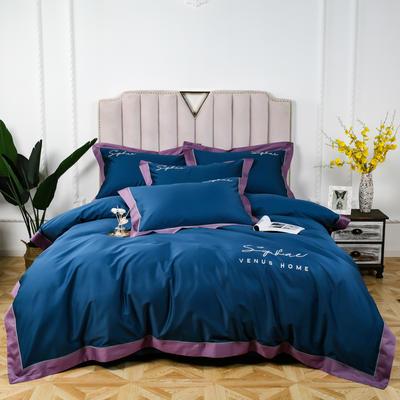 60长绒棉拼色款 1.5m(5英尺)床 月光蓝