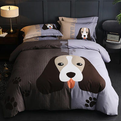 (2020)全棉磨毛四件套 1.8m(6英尺)床 卡蒂狗