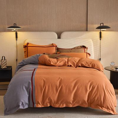 2021新款60支全棉肌理纹磨毛四件套典雅系列 1.8m床单款四件套 典雅(香橙)