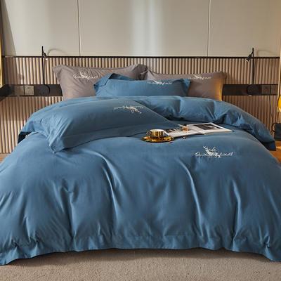 2021新款全棉磨毛绣花系列四件套—奥多兰 1.8m床单款四件套 奥多兰宝蓝