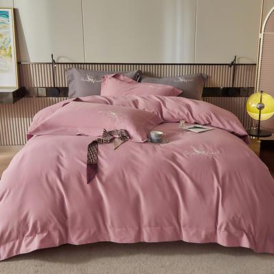 2021新款全棉磨毛绣花系列四件套—奥多兰 1.8m床单款四件套 奥多兰丁香紫