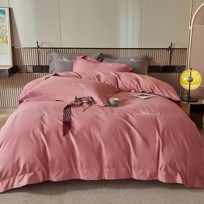 2021新款全棉磨毛绣花系列四件套—奥多兰 1.8m床单款四件套 奥多兰红豆沙