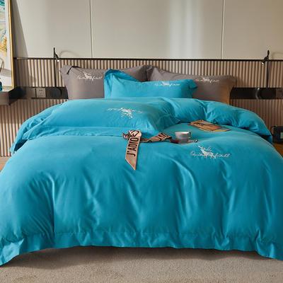 2021新款全棉磨毛绣花系列四件套—奥多兰 1.8m床单款四件套 奥多兰湖蓝