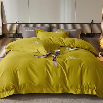 2021新款全棉磨毛绣花系列四件套—奥多兰 1.8m床单款四件套 奥多兰芥末黄