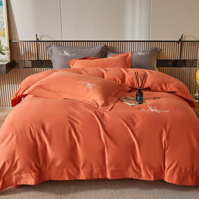 2021新款全棉磨毛绣花系列四件套—奥多兰 1.8m床单款四件套 奥多兰桔红