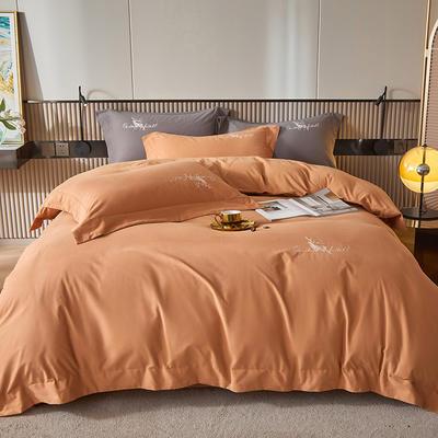 2021新款全棉磨毛绣花系列四件套—奥多兰 1.8m床单款四件套 奥多兰藕色
