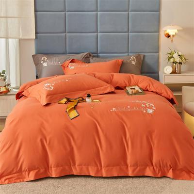 2021新款全棉磨毛绣花系列四件套—布鲁斯 1.8m床单款四件套 爱玛橙
