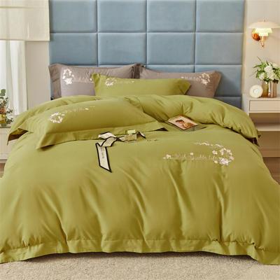 2021新款全棉磨毛绣花系列四件套—布鲁斯 1.8m床单款四件套 丛林绿
