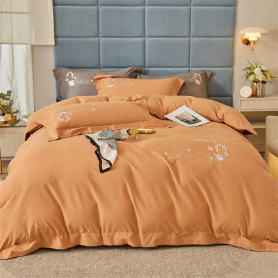 2021新款全棉磨毛绣花系列四件套—布鲁斯 1.8m床单款四件套 桔子橙