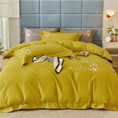 2021新款全棉磨毛绣花系列四件套—布鲁斯 1.8m床单款四件套 杏黄