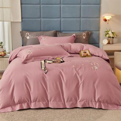 2021新款全棉磨毛绣花系列四件套—布鲁斯 1.8m床单款四件套 紫豆沙