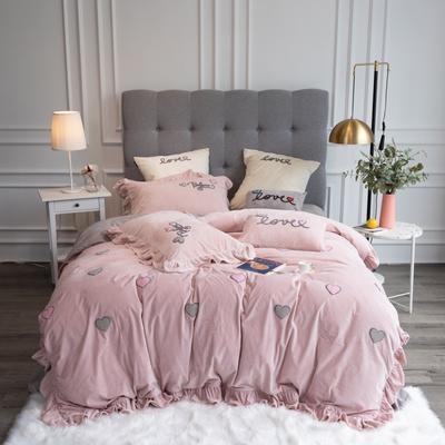 2019新款3秒速暖绒四件套 1.5m床单款四件套 贝拉-粉色