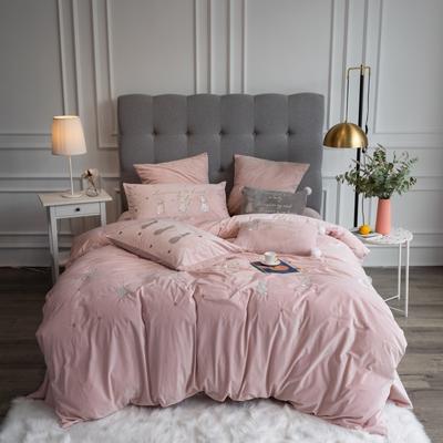 2019新款3秒速暖绒四件套 1.5m床单款四件套 瑞贝卡-粉色