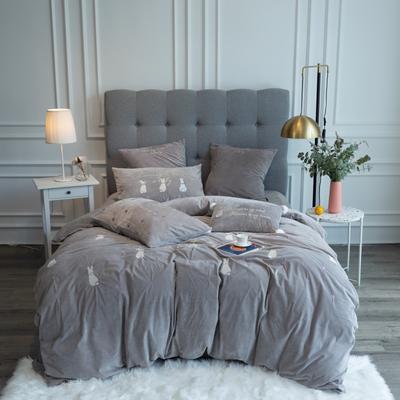 2019新款3秒速暖绒四件套 1.5m床单款四件套 瑞贝卡-灰色