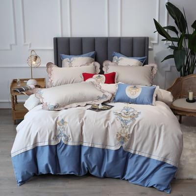2020新款60支新品四件套 1.2m床单款三件套 如梦令-宝石蓝