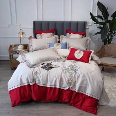 2020新款60支新品四件套 1.2m床单款三件套 如梦令-珊瑚红